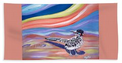 Hand Towel featuring the painting Posy 2 The Roadrunner by Phyllis Kaltenbach