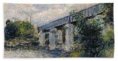 Railway Bridge At Argenteuil Bath Towel
