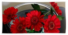 Red Flowers. Special Bath Towel
