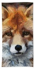Hand Towel featuring the painting Red Fox by Dragica  Micki Fortuna
