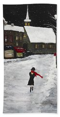 Red Scarf Winter Scene Hand Towel by Dick Bourgault