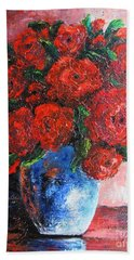 Hand Towel featuring the painting Red Scent by Vesna Martinjak