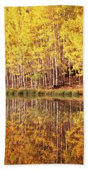 Reflection Of Aspen Trees In A Lake Bath Towel