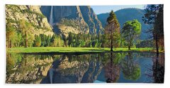 Reflections Of Yosemite Falls Hand Towel by Lynn Bauer