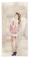 Retro Pin Up Woman Carrying Vintage Shopping Bag Hand Towel