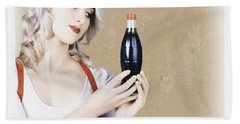 Retro Pop Art Girl. Vintage Texture Background Hand Towel
