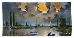 Hand Towel featuring the painting River Yare On The Broads by Ken Wood
