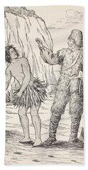 Robinson Crusoe And Friday Hand Towel