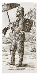 Robinson Crusoe, Illustration From The Hand Towel