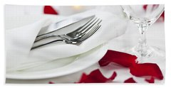 Romantic Dinner Setting With Rose Petals Hand Towel