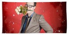 Romantic Valentine Man Holding Flowers On Date Hand Towel