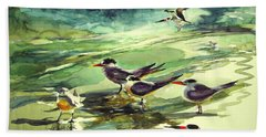 Royal Terns And Black Skimmers Hand Towel