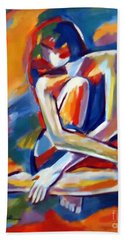 Seated Figure Bath Towel by Helena Wierzbicki