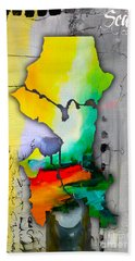 Seattle Map Watercolor Hand Towel by Marvin Blaine