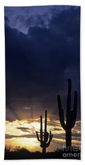 Silhouetted Saguaro Cactus Sunset At Dusk Arizona State Usa Bath Towel