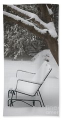 Snow Covered Bench Bath Towel
