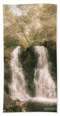 Soft Vintage Forest Waterfall In Tasmania Hand Towel