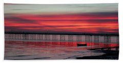 Southend Pier Sunset Bath Towel