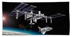Space Station In Orbit Around Earth Hand Towel
