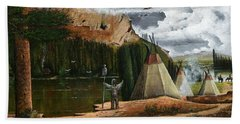 Hand Towel featuring the painting Spiritual Home by Ken Wood