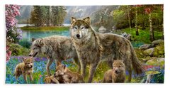 Spring Wolf Family Hand Towel