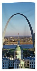 St. Louis Arch With Old Courthouse Hand Towel