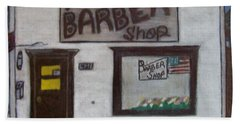 Hand Towel featuring the mixed media Stans Barber Shop Menominee by Jonathon Hansen