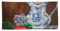 Still Life With Blue And White Pitcher Bath Towel