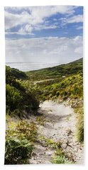 Strahan Coast Landscape Winding To The Ocean Bath Towel