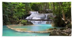 Stream With Waterfall In Tropical Forest Hand Towel