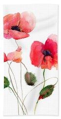 Stylized Poppy Flowers Illustration Bath Towel
