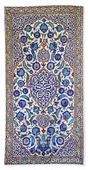 Sultan Selim II Tomb 16th Century Hand Painted Wall Tiles Hand Towel by Ralph A  Ledergerber-Photography