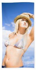 Summer Woman Wearing Straw Hat Bath Towel