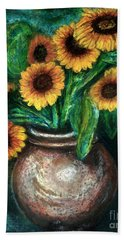 Bath Towel featuring the pastel Sunflowers by Jasna Dragun