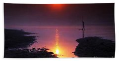 Sunset At Ganga River In The Planes Of Provinces Bath Towel by Navin Joshi