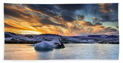 sunset at Jokulsarlon iceland Hand Towel