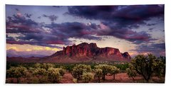 Sunset At The Superstitions  Hand Towel by Saija  Lehtonen