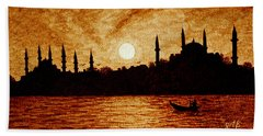 Sunset Over Istanbul Original Coffee Painting Bath Towel by Georgeta  Blanaru