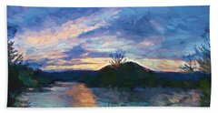 Sunset Pano - Watauga Lake Bath Towel