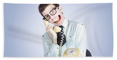 Talkative Nerd Man With Big Mouth Hand Towel