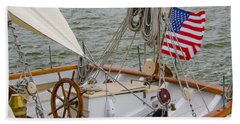 Tall Ship Wheel Bath Towel by Dale Powell