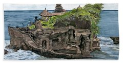 Bath Towel featuring the painting Tanah Lot Temple Bali Indonesia by Melly Terpening
