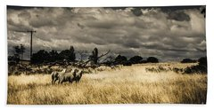 Tasmania Landscape Of An Outback Cattle Station Bath Towel