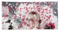 Tender Woman With Flowers. Romantic Celebration Bath Towel