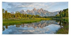 Teton Range Reflected In The Snake River Hand Towel
