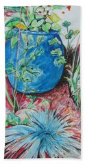Bath Towel featuring the painting The Blue Flower Pot by Esther Newman-Cohen
