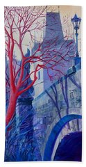 Bath Towel featuring the painting The Charles Bridge Blues by Marina Gnetetsky