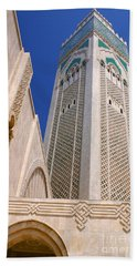 Bath Towel featuring the photograph The Hassan II Mosque Grand Mosque With The Worlds Tallest 210m Minaret Sour Jdid Casablanca Morocco by Ralph A  Ledergerber-Photography