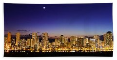 The Moon And Venus Over Honolulu Bath Towel
