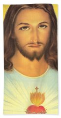 The Sacred Heart Of Jesus Hand Towel